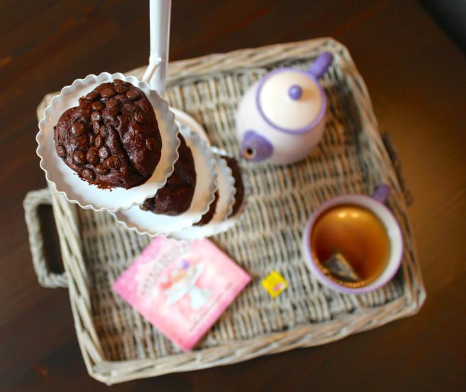 proteinschoko muffins etagere