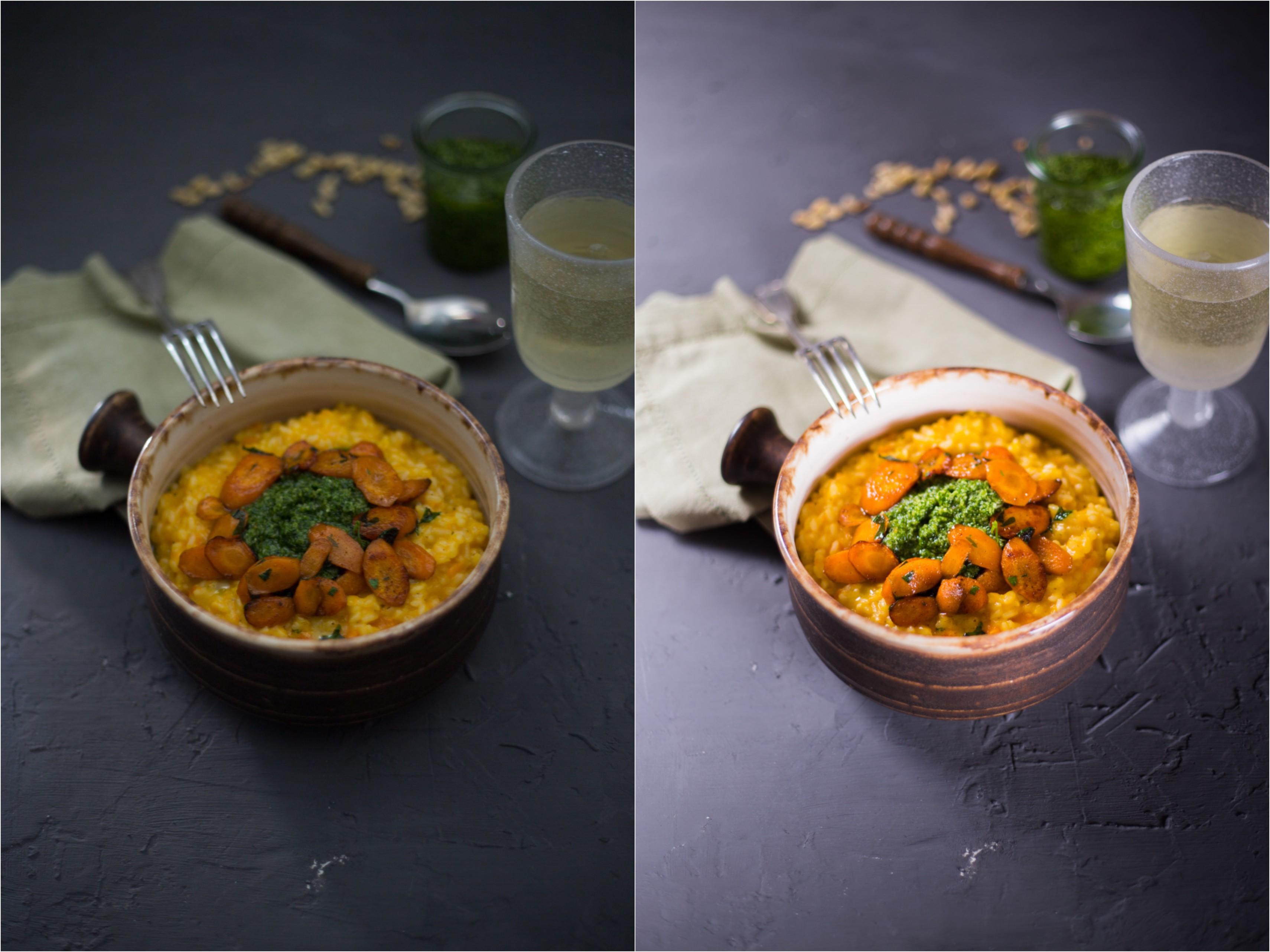 Foodfotografie mit Blitz ohne Blitz Vergleich