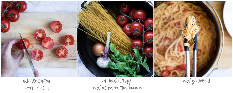 So werden One Pot Spaghetti mit Tomatensauce gemacht.