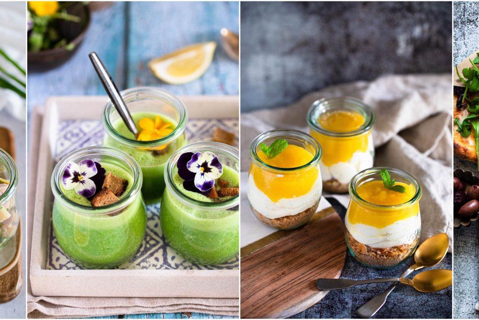 Rezeptideen für coronakonformes Buffet. Essen im Glas.